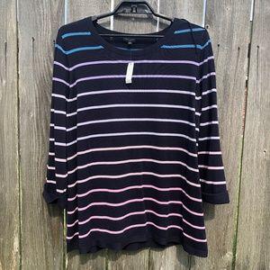 Talbots Navy Blue Striped Sweater Knit Top Size 2X